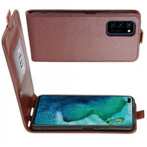 Флип чехол книжка вертикальная для Huawei Honor View 30 / View 30 Pro - Коричневый