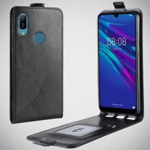 Флип чехол книжка вертикальная для Huawei Y6 2019 / Y6s / Honor 8A / Honor 8A Pro - Черный