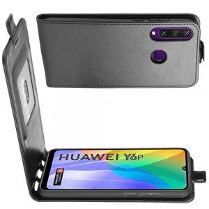 Флип чехол книжка вертикальная для Huawei Y6p - Черный