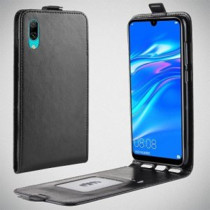 Флип чехол книжка вертикальная для Huawei Y7 Pro 2019 - Черный
