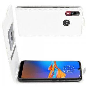 Флип чехол книжка вертикальная для Motorola Moto E6 Plus - Белый