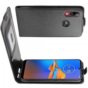 Флип чехол книжка вертикальная для Motorola Moto E6 Plus - Черный