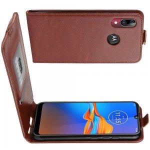 Флип чехол книжка вертикальная для Motorola Moto E6 Plus - Коричневый