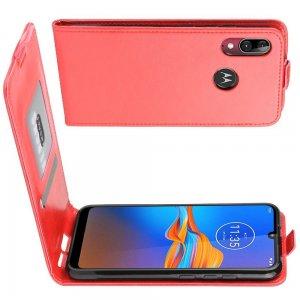 Флип чехол книжка вертикальная для Motorola Moto E6 Plus - Красный