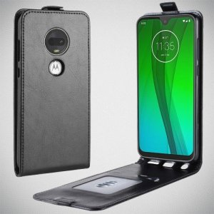 Флип чехол книжка вертикальная для Motorola Moto G7 - Черный