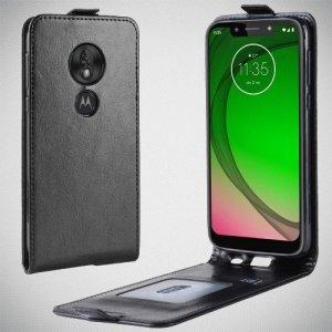 Флип чехол книжка вертикальная для Motorola Moto G7 Play - Черный