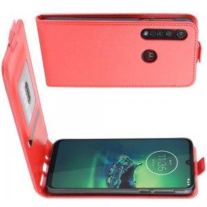 Флип чехол книжка вертикальная для Motorola Moto G8 Plus - Красный
