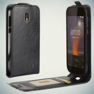 Флип чехол книжка вертикальная для Nokia 1 - Черный