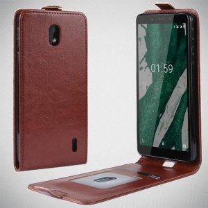Флип чехол книжка вертикальная для Nokia 1 Plus - Коричневый