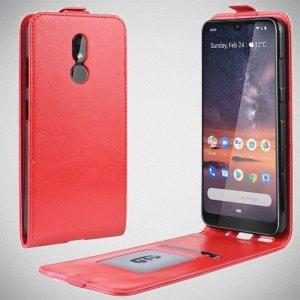 Флип чехол книжка вертикальная для Nokia 3.2 - Красный