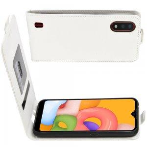 Флип чехол книжка вертикальная для Samsung Galaxy A01 - Белый
