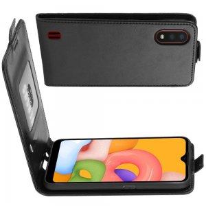 Флип чехол книжка вертикальная для Samsung Galaxy A01 - Черный