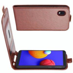 Флип чехол книжка вертикальная для Samsung Galaxy A01 Core - Коричневый