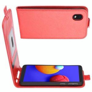 Флип чехол книжка вертикальная для Samsung Galaxy A01 Core - Красный