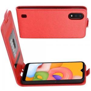 Флип чехол книжка вертикальная для Samsung Galaxy A01 - Красный