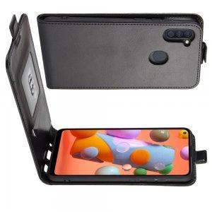 Флип чехол книжка вертикальная для Samsung Galaxy A11 - Черный