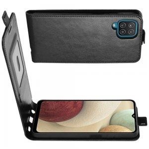 Флип чехол книжка вертикальная для Samsung Galaxy A12 - Черный