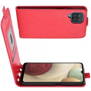 Флип чехол книжка вертикальная для Samsung Galaxy A12 - Красный