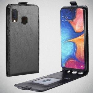 Флип чехол книжка вертикальная для Samsung Galaxy A20e - Черный