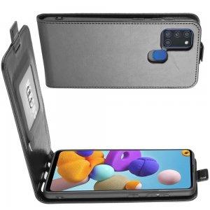 Флип чехол книжка вертикальная для Samsung Galaxy A21s - Черный