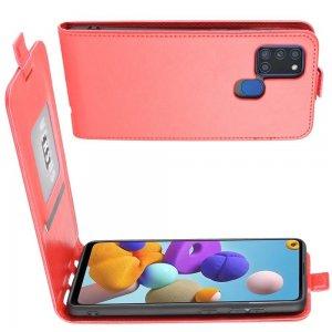 Флип чехол книжка вертикальная для Samsung Galaxy A21s - Красный