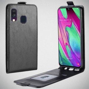 Флип чехол книжка вертикальная для Samsung Galaxy A40 - Черный