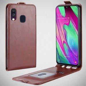 Флип чехол книжка вертикальная для Samsung Galaxy A40 - Коричневый