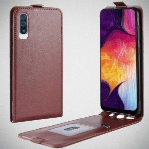 Флип чехол книжка вертикальная для Samsung Galaxy A50 / A30s - Коричневый