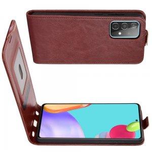 Флип чехол книжка вертикальная для Samsung Galaxy A52 - Коричневый