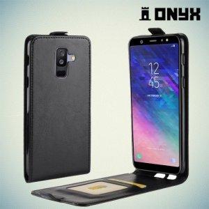 Флип чехол книжка вертикальная для Samsung Galaxy A6 Plus 2018 - Черный