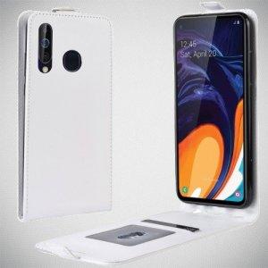 Флип чехол книжка вертикальная для Samsung Galaxy A60 - Белый