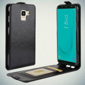 Флип чехол книжка вертикальная для Samsung Galaxy J6 2018 SM-J600F - Черный