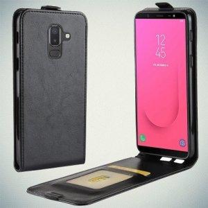 Флип чехол книжка вертикальная для Samsung Galaxy J8 2018 - Черный