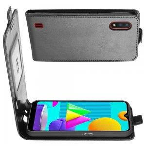 Флип чехол книжка вертикальная для Samsung Galaxy M01 - Черный