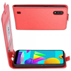 Флип чехол книжка вертикальная для Samsung Galaxy M01 - Красный
