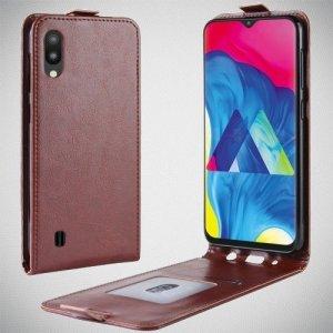 Флип чехол книжка вертикальная для Samsung Galaxy M10 - Коричневый