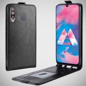 Флип чехол книжка вертикальная для Samsung Galaxy M30 - Черный