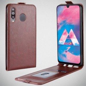 Флип чехол книжка вертикальная для Samsung Galaxy M30 - Коричневый