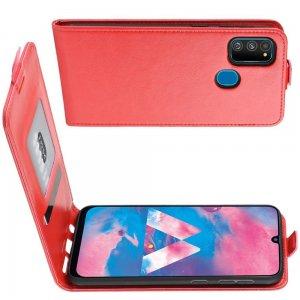 Флип чехол книжка вертикальная для Samsung Galaxy M30s - Красный