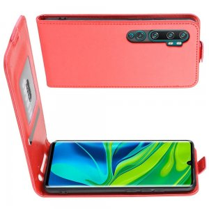Флип чехол книжка вертикальная для Xiaomi Mi Note 10 - Красный