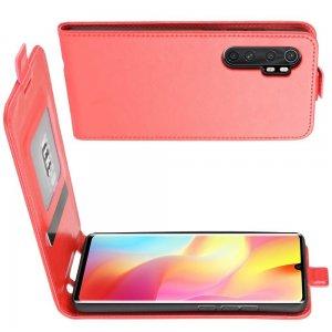 Флип чехол книжка вертикальная для Xiaomi Mi Note 10 Lite - Красный