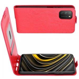 Флип чехол книжка вертикальная для Xiaomi Poco M3 - Красный