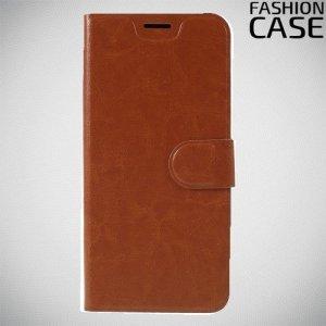 Flip Wallet чехол книжка для Motorola Moto G7 - Коричневый