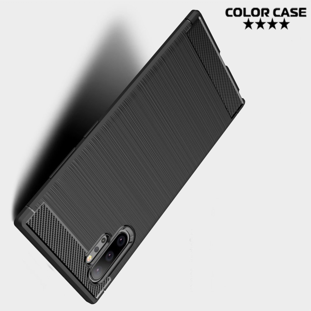 Carbon Силиконовый матовый чехол для Samsung Galaxy Note 10+ - Черный цвет