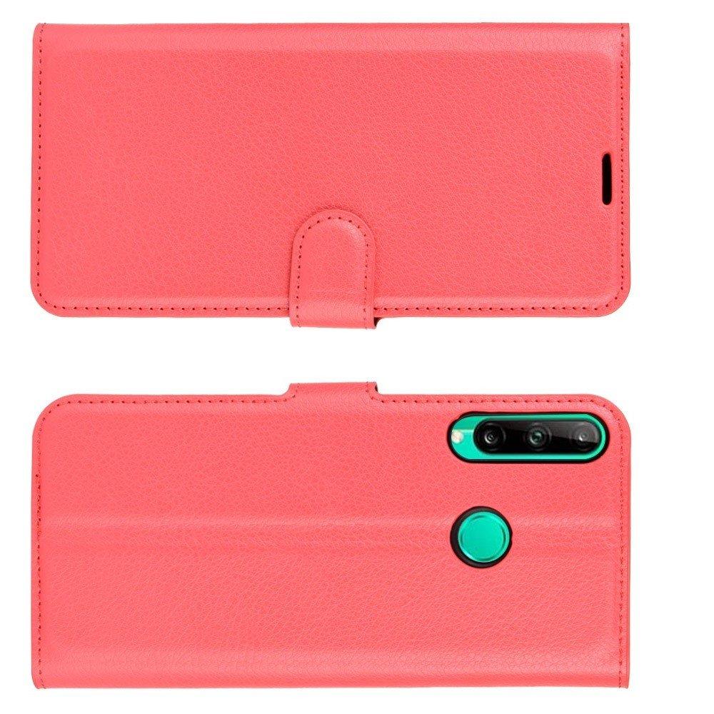 Чехол книжка для Huawei P40 lite E / Honor 9C отделения для карт и подставка Красный