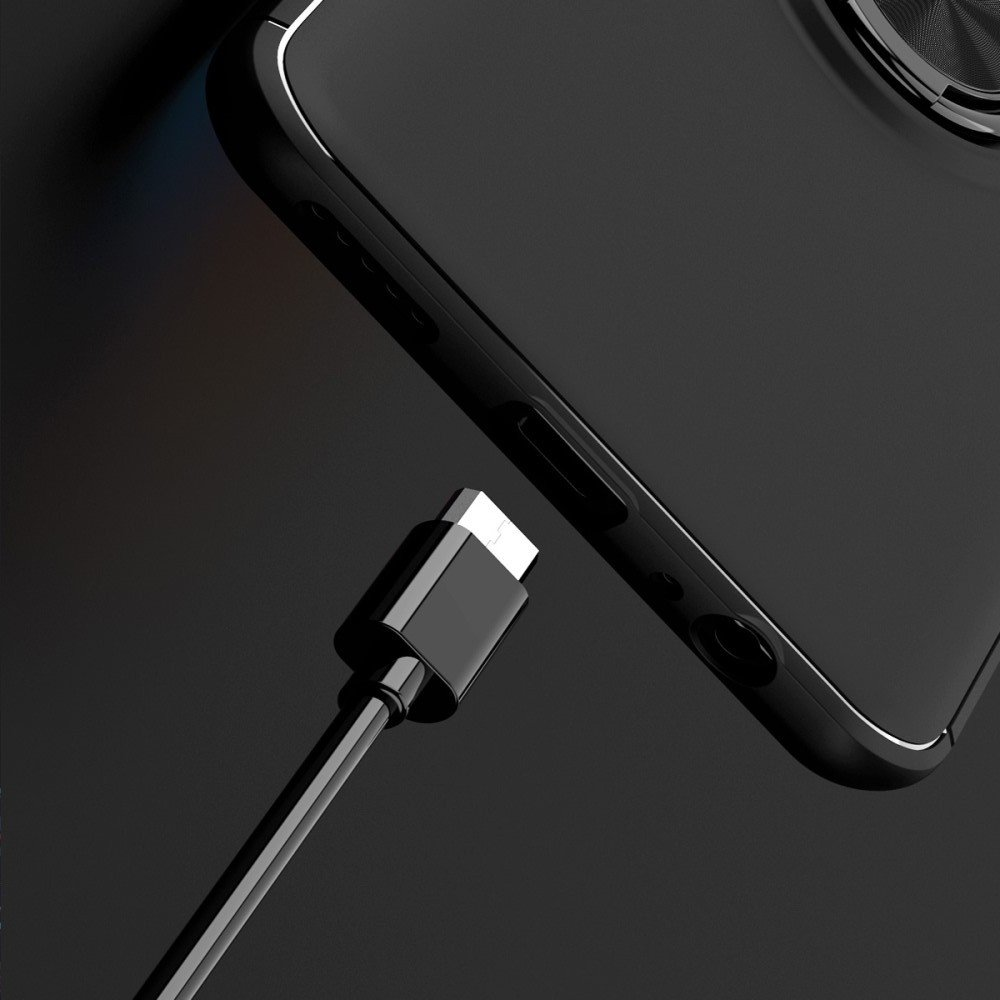 ArmaRing Двухкомпонентный чехол для Huawei P Smart 2021 с кольцом для магнитного автомобильного держателя - Черный