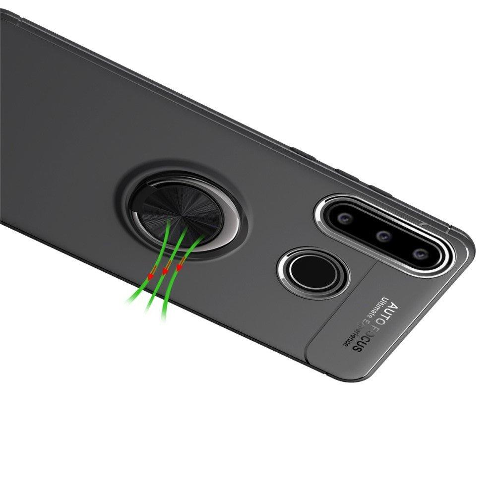 ArmaRing Двухкомпонентный чехол для Huawei P40 lite E с кольцом для магнитного автомобильного держателя - Черный