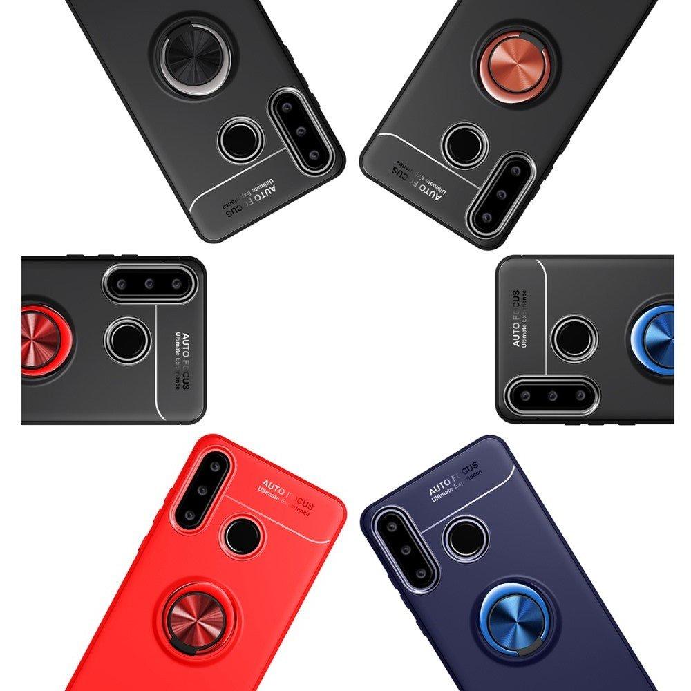 ArmaRing Двухкомпонентный чехол для Huawei P40 lite E с кольцом для магнитного автомобильного держателя - Синий / Черный