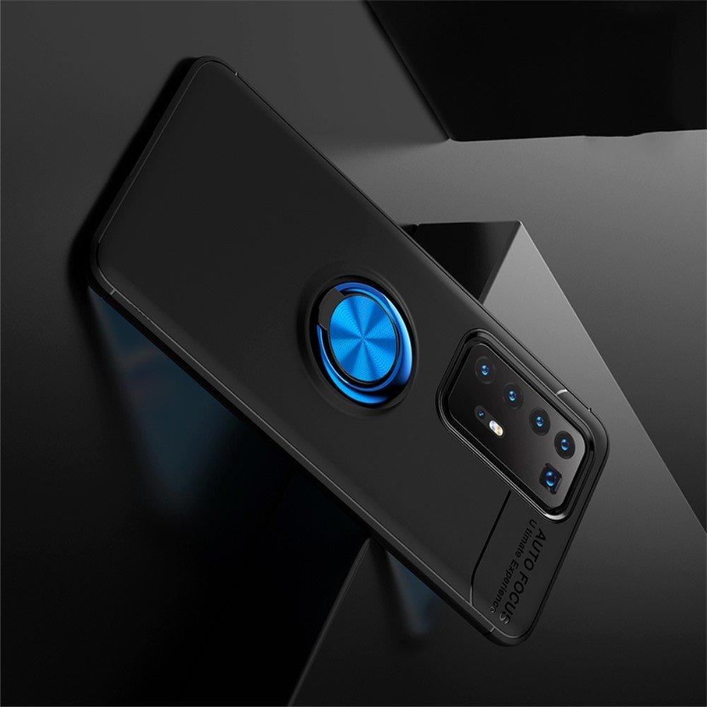 ArmaRing Двухкомпонентный чехол для Huawei P40 Pro+ / Pro Plus с кольцом для магнитного автомобильного держателя - Синий / Черный