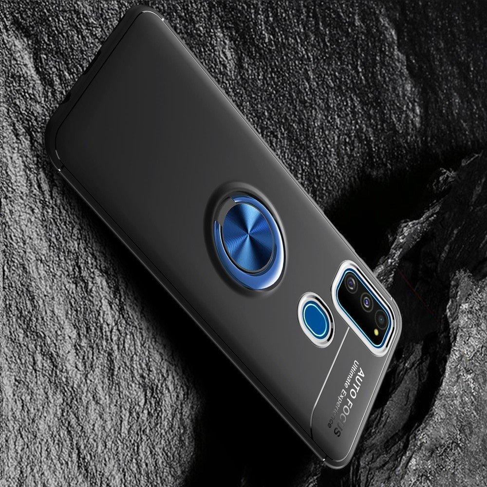 ArmaRing Двухкомпонентный чехол для Samsung Galaxy M31 с кольцом для магнитного автомобильного держателя - Синий / Черный